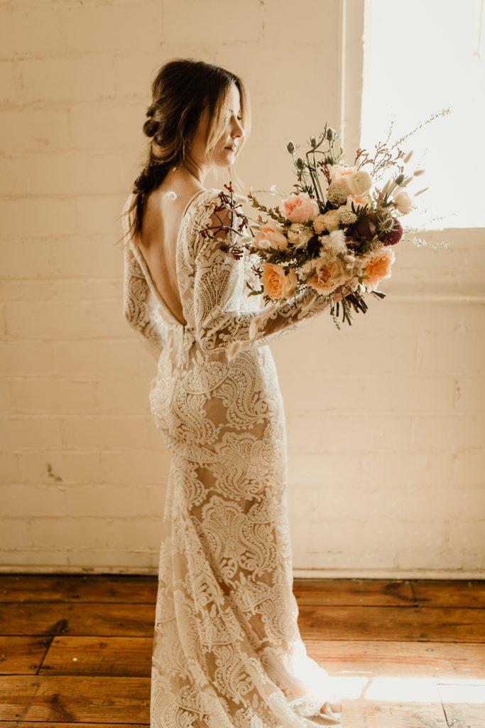 Bohemian Romance Surprise Vow Renewal - Bridal Portraits with Bouquet