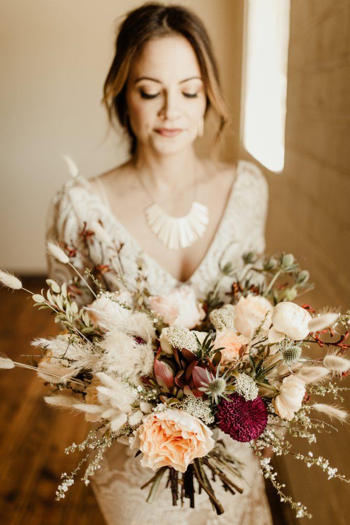 Bohemian Romance Surprise Vow Renewal - Bridal Portrait with Bouquet
