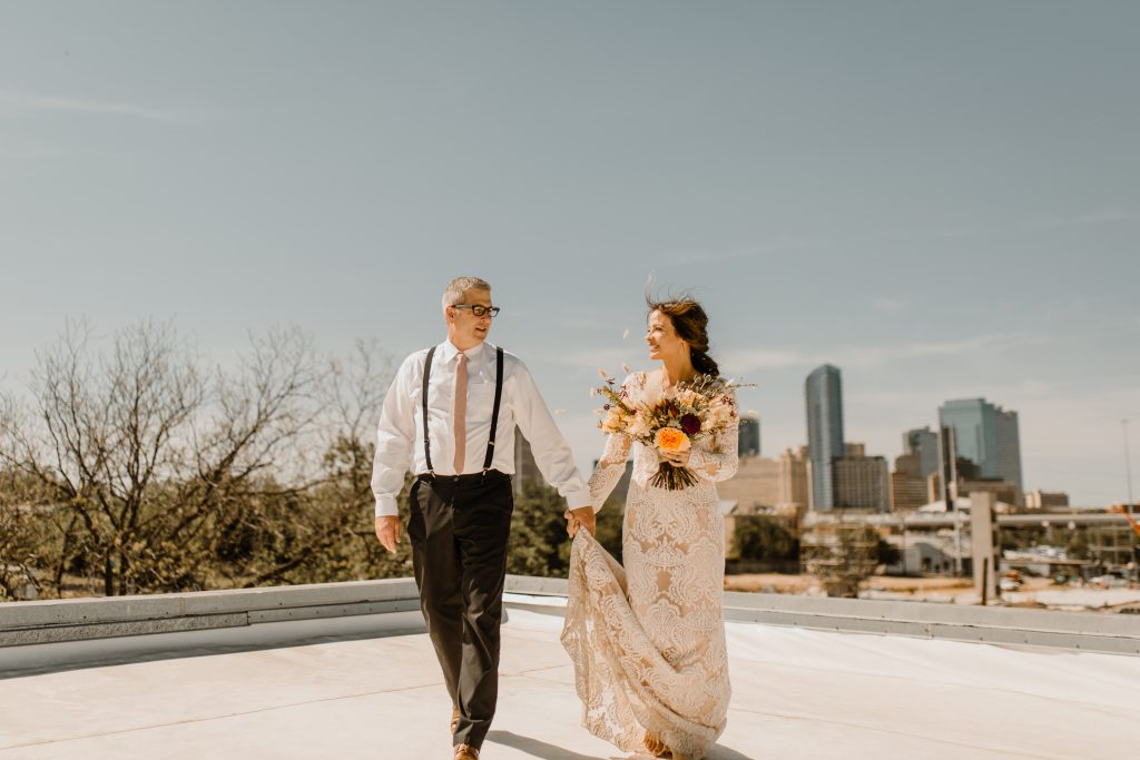 Bohemian Romance Surprise Vow Renewal - Rooftop First Look