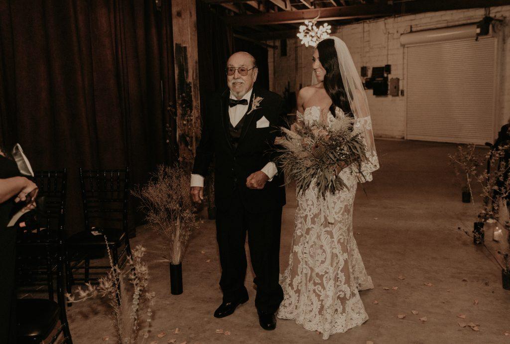 Mod West Wedding - Bride with Dad
