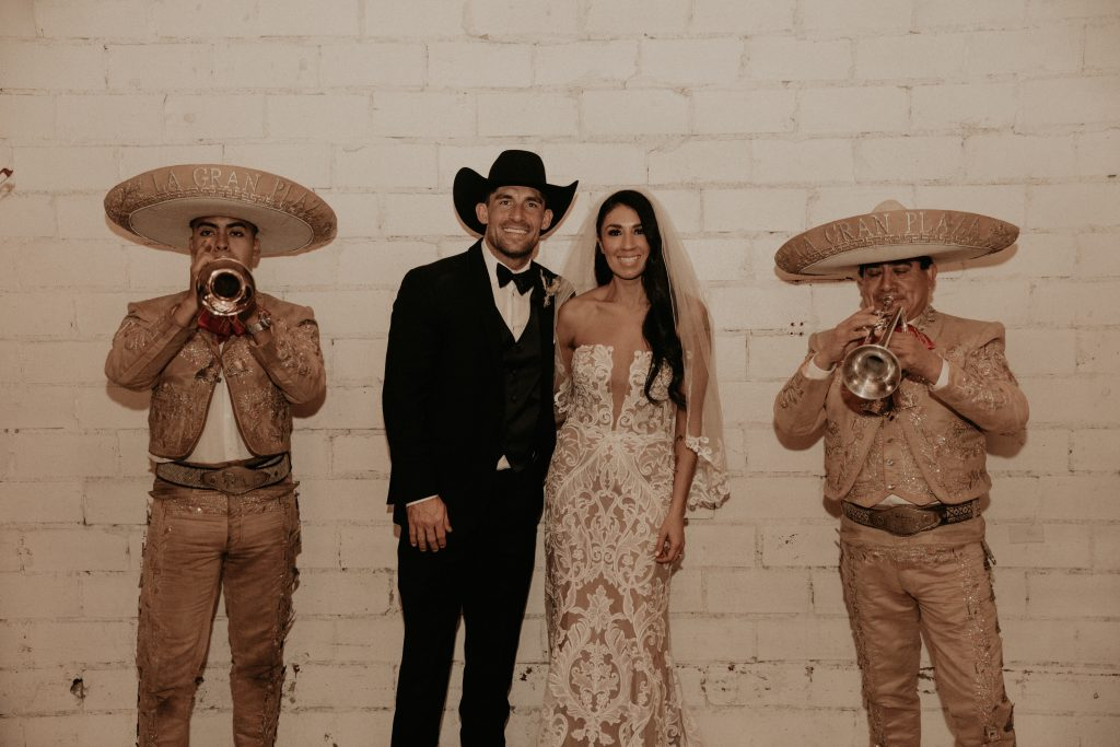 Mod West Wedding - Bride & Groom with Mariachis
